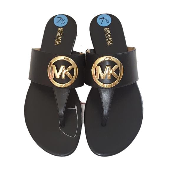a1c5eb9414b622 NWOB Michael kors Raquel sandals black gold logo